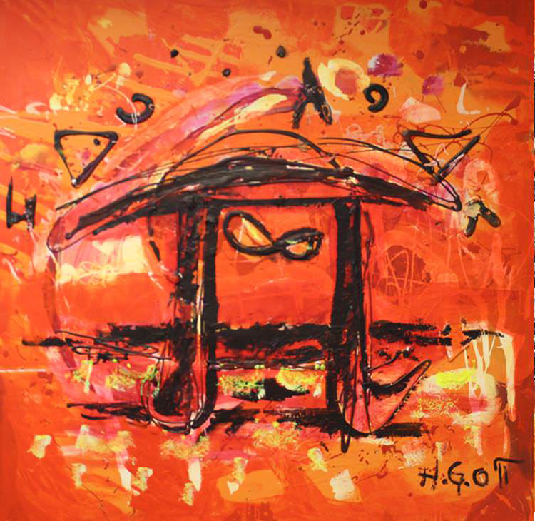 Photo courtesy of Agora Gallery Pi in Red and Orange Sunset, Acrylic on Canvas, 39.5 x 39.5.