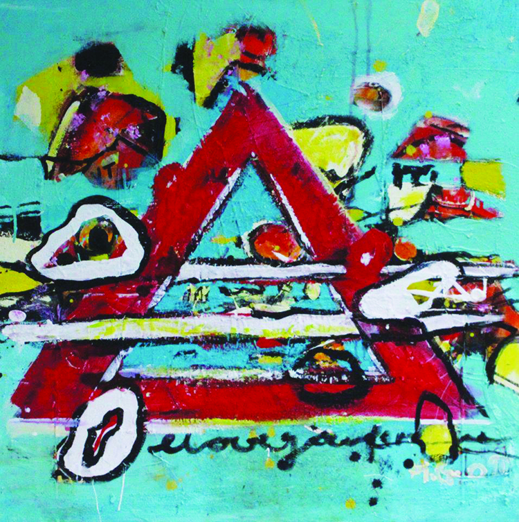 Photo courtesy of Agora Gallery Hilde Gustava, Searching for the Right Symbols, Acrylic on Canvas, 27.5 x 27.5.