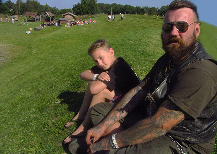 Photo: David Burke Barth Resch, bassist in Austrian metal band Our Survival Depends on Us, and his 12-year-old son, Alastair, drove 1,700 kilmeters from Salzburg to experience Midgardsblot 2015 and the land of the Vikings.