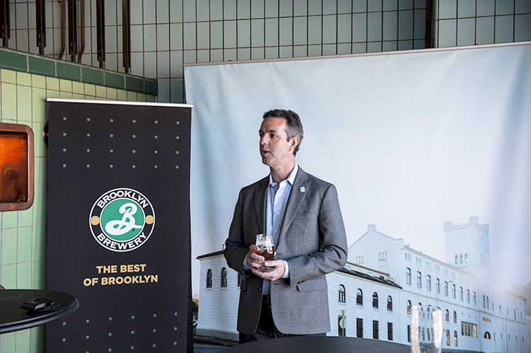 Photo courtesy of Brooklyn Brewery Eric Ottaway speaks at a recent event at the Trondheim brewery.
