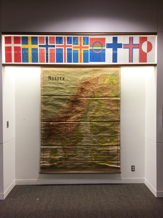 Photo: Jon Dennie Scandinavia and its flags on display at PLU's Scandinavian Cultural Center.