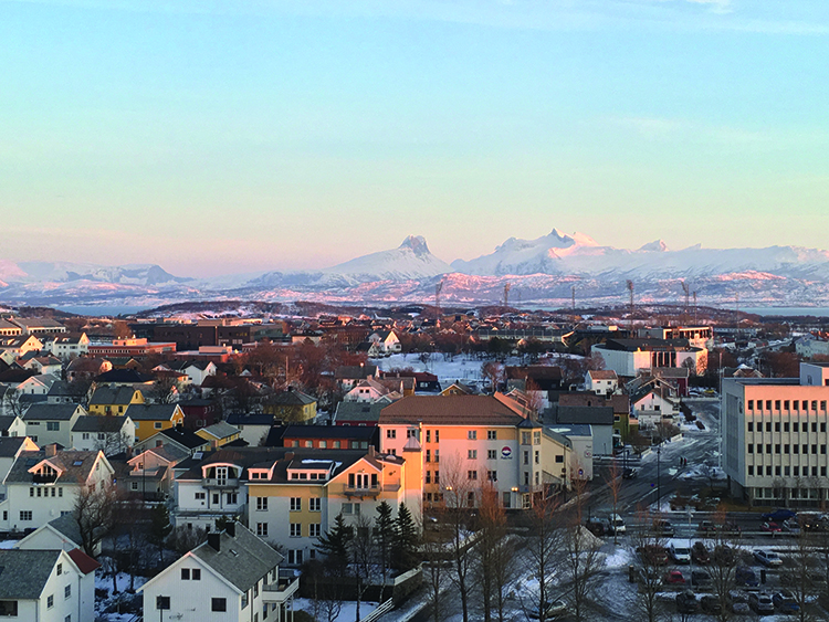 Photo: David Nikel The view of Bodø and the mountains beyond as seen from the Radisson's sky bar.
