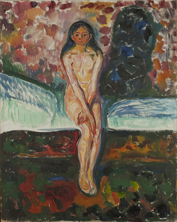 "Photo courtesy of the Neue Galerie Edvard Munch (1863-1944), ""Puberty,"" 1914-16, Oil on canvas, 97 x 77 cm (38 1/8 x 30 ¼ in.), The Munch Museum, Oslo. © 2016 Artists Rights Society (ARS), New York. This color version of ""Puberty"" speaks to the works of Erich Heckel on the same theme."
