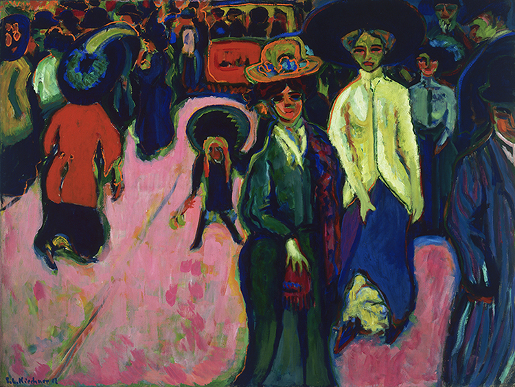 "Photo courtesy of the Neue Galerie Ernst Ludwig Kirchner (1880-1938), ""Street, Dresden,"" 1908 (reworked 1919; dated on painting 1907) Oil on canvas, 150.5 x 200.4 cm (59 ¼ x 6' 6 7/8 in.), The Museum of Modern Art, New York. You can see similar themes of angst in the works of Munch's contemporaries."