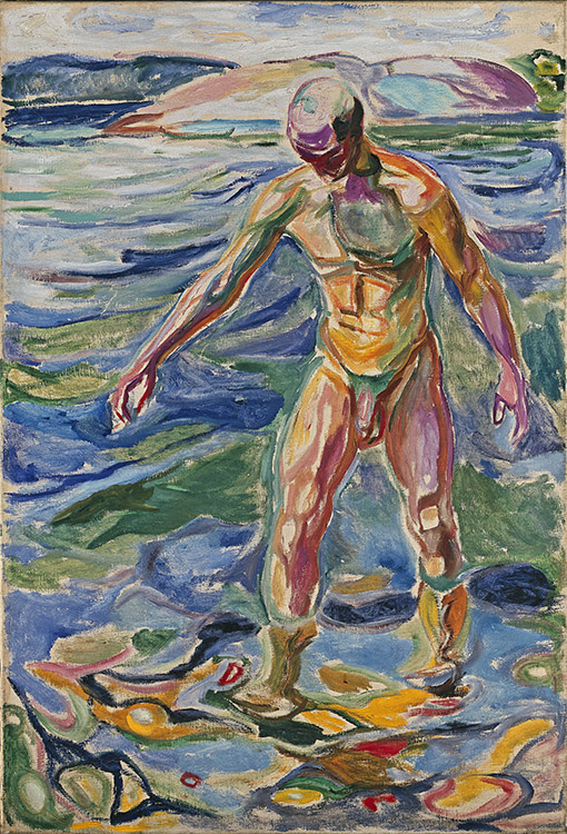 "Photo courtesy of the Neue Galerie Edvard Munch (1863-1944), ""Bathing Man,"" 1918, Oil on canvas, 160 x 110 cm (63 x 43 ¼ in.), The National Museum of Art, Architecture and Design, Oslo. © 2016 Artists Rights Society (ARS), New York. We may not think of Munch as an Expressionist, but works like this show that he was."