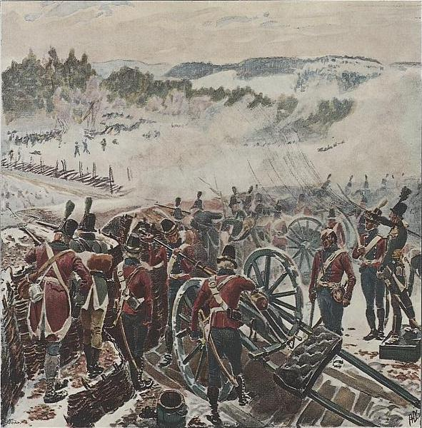 "Image: Public Domain / Wikimedia Commons ""The battle of Lier,"" a drawing by Andreas Bloch. Three battalions of Norwegians at Lier drove back five battalions of advancing Swedish soldiers, in Norway's first win of the war."