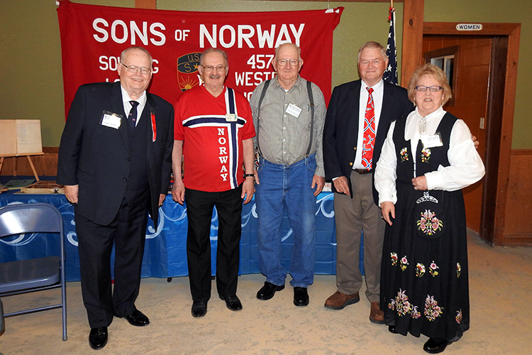 Photo: David Torgerson The past presidents of Solvang Lodge: Russ Hanson, Gary Daines, Buddy Rudhaugen, Ron Iverson, and Sandy Iverson.