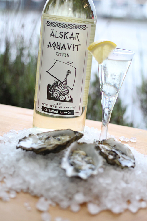 Photo courtesy of Old Ballard Liquor Co.   A citrus aquavit pairs well with seafood.