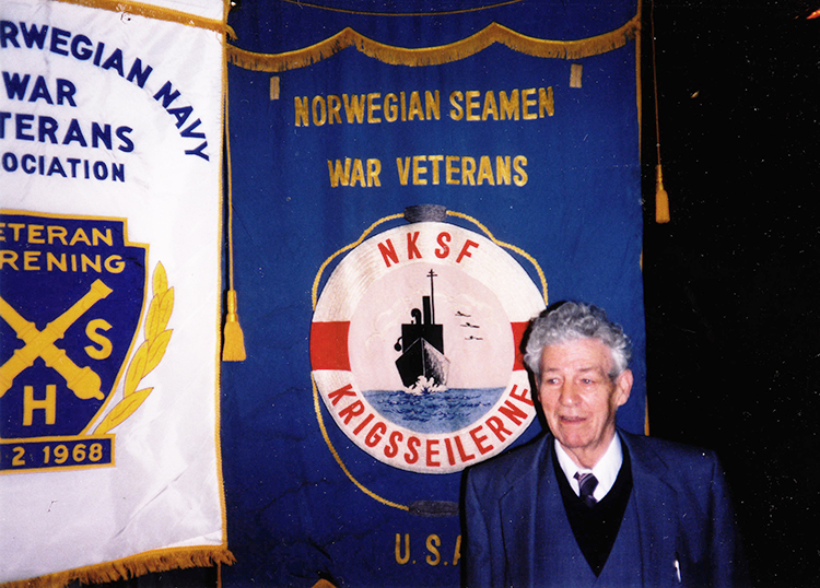 Photo courtesy of John Lunde This photo of Captain Birger Lunde was taken at a meeting of the Norwegian Seaman's War Veterans, of which he was president for over 20 years. He felt that helping others helped him heal from the ordeal he'd been through.