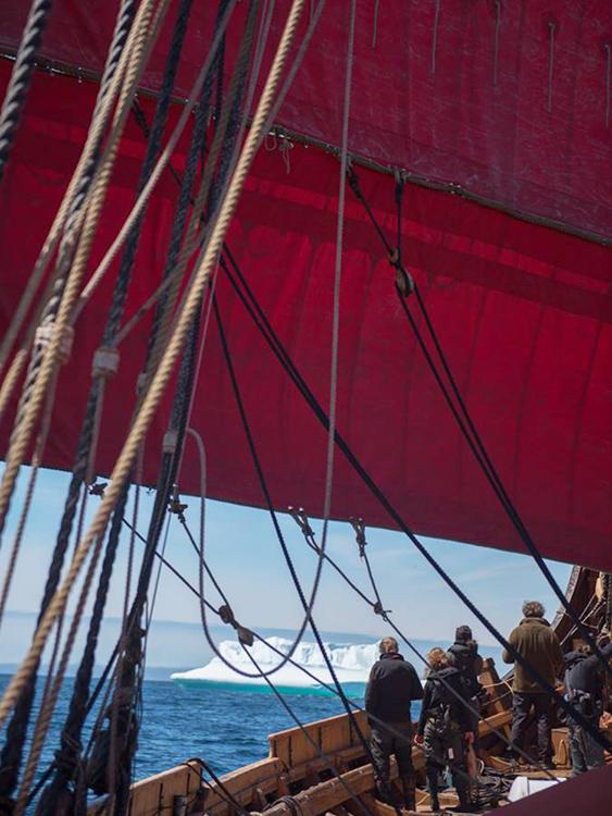 Photo: Draken Harald Hårfagre / Facebook The ship passes icebergs in the Bay of Labrador.
