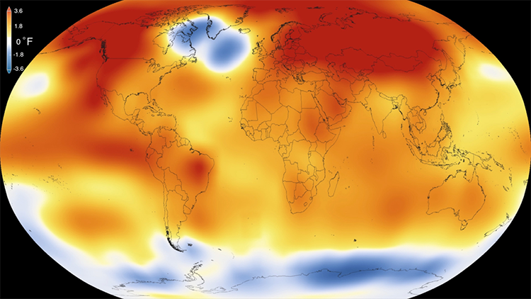 Photo: NASA Scientific Visualization Studio The cold blob visible on NASA's global mean temperatures for 2015, the warmest year on record (since 1880).