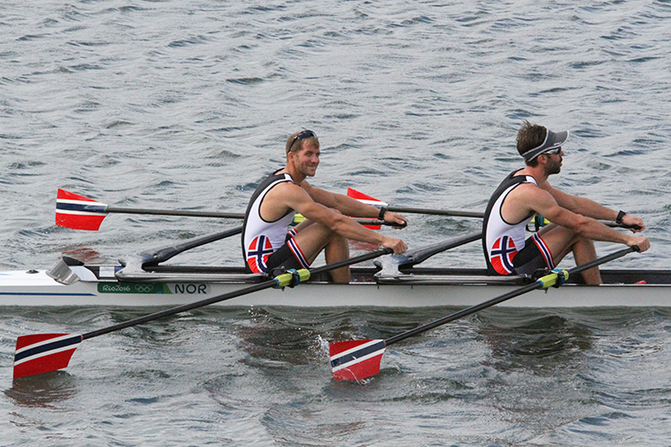 Photo: Geir Owe Fredheim /  courtesy of Norges Idrettsforbund Are Strandli and Kristoffer Brun took bronze in the men's lightweight double sculls.