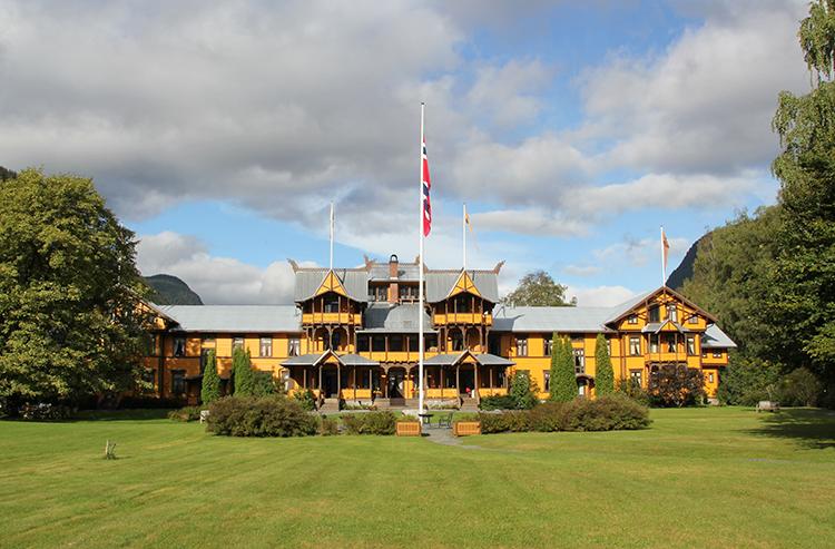 Photo: NHG AS / Wikimedia This dragon-accented yellow wooden hotel is like something from a fairy tale.