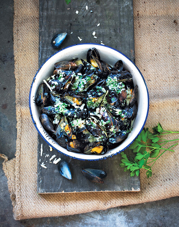Photo copyright © 2015  by Stefan Wettainen Mussels with horseradish cream, from Fire + Ice: Classic Nordic Cooking by Darra Goldstein.