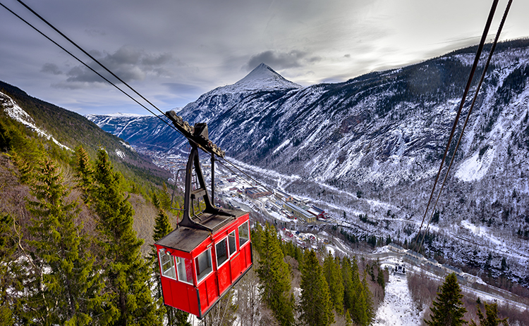 Photo: Ian Brodie / Visitrjukan.com Krossobanen is the first cable car built in northern Europe and it affords magnificent views of Rjukan below. In wintertime, the cable car provides residents of the valley with a chance to see the sun.