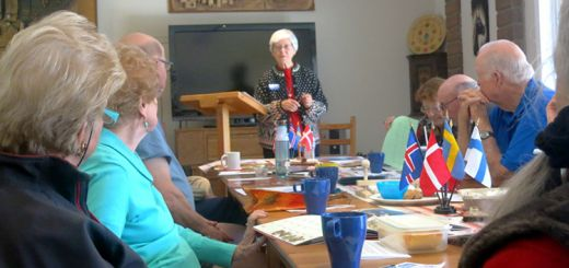 Photo: Fred Tonsing, courtesy of CLU Scan Center Anita Londgren, coordinator of the Brown Bag Lunches, co-director of the Scandinavian Center, and board member of the Scandinavian American Cultural and Historical Foundation (SACHF), leads the review of name-days calendars.