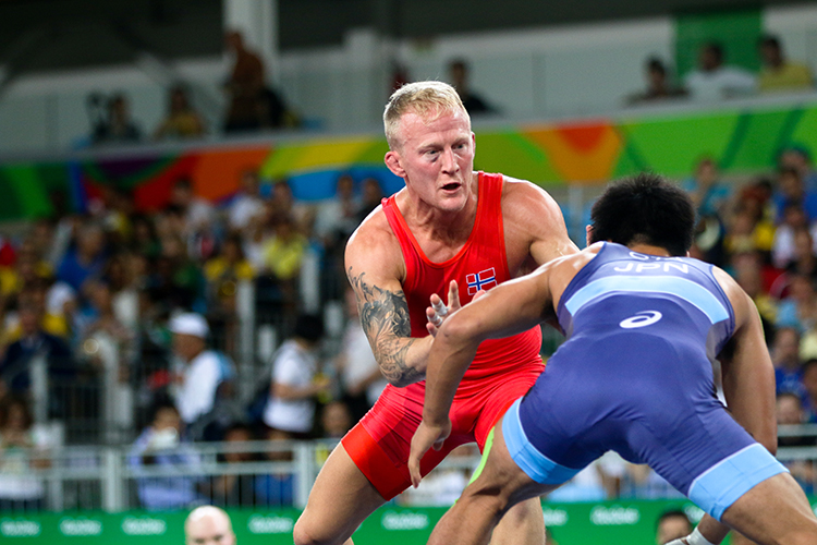 Photo: Karl Filip Singdahlsen / NIF / courtesy of Norges Idrettsforbund The Norwegian wrestler was outfought by Shinobu Ota of Japan in the quarterfinal.
