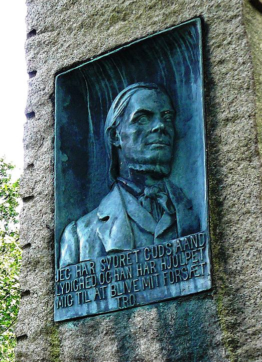 Photo: C. Hill / Wikimedia Memorial plate of Hans Nielsen Hauge, by Bredtvet church, Oslo.