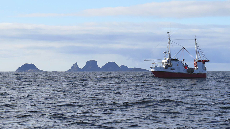 Photo courtesy of Einar Stamnes Media, Røst Fishing smack off the coast of Røst island, Lofoten archipelago.