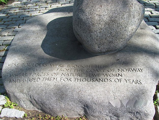 "Photo: Lois Berseth Hedlund  ""The stone"" is a fittingly simple memorial to Norwegian sailors in New York."