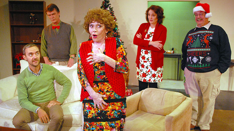 Photo: Doug Engalla Olson drew on his own family drama to create a holiday experience that many can relate to. From left to right: Greg D. Barnett, Patrick Burke, Marcia Rodd, Belinda Howell, and Fox Carney.