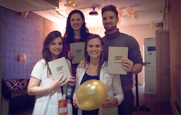 Photo courtesy of Nordic Startup Bits  From left to right: Kriszti Toth (MESH Norway Co-Founder), co-author Audrey Camp, Sissel Hansen (Startup Everywhere Founder), and Thomas Nymark Horsted (Startup Everywhere Co-Founder).