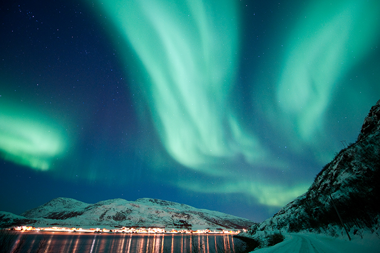 The northern lights in northern Norway.