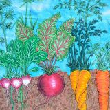 A mural depicting root vegetables.