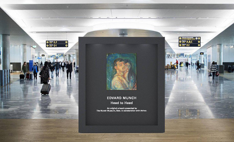 Edvard Munch painting displayed in the airport.