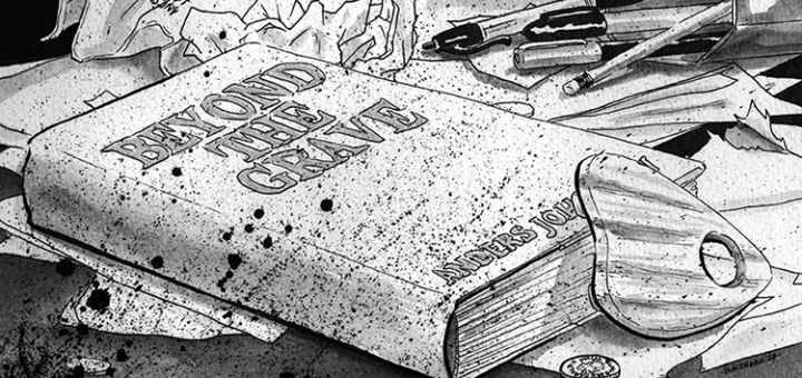 "A drawing of the ""Beyond the Grave"" book."