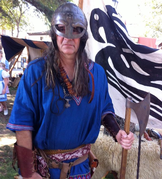 Man in Viking gear.