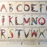 A poster of people forming the letters of the alphabet.