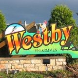 A welcome sign to Westby, Wisconsin.