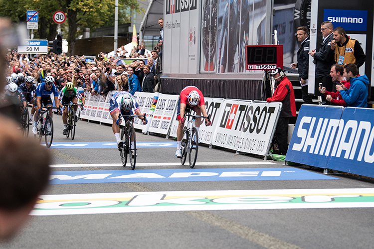 Cyclists at the finish line.