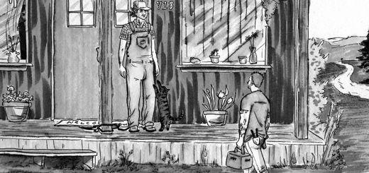 Man walking up to man standing on porch.