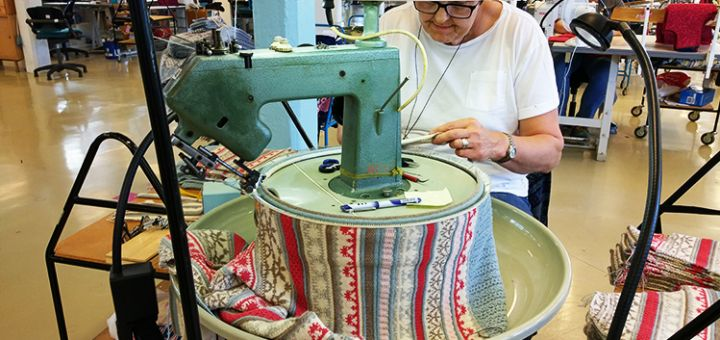A sweater being made in the Oleana factory.