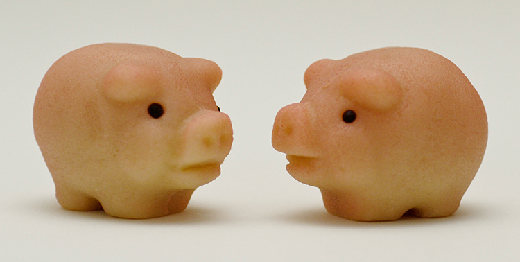 Two marzipan pigs.