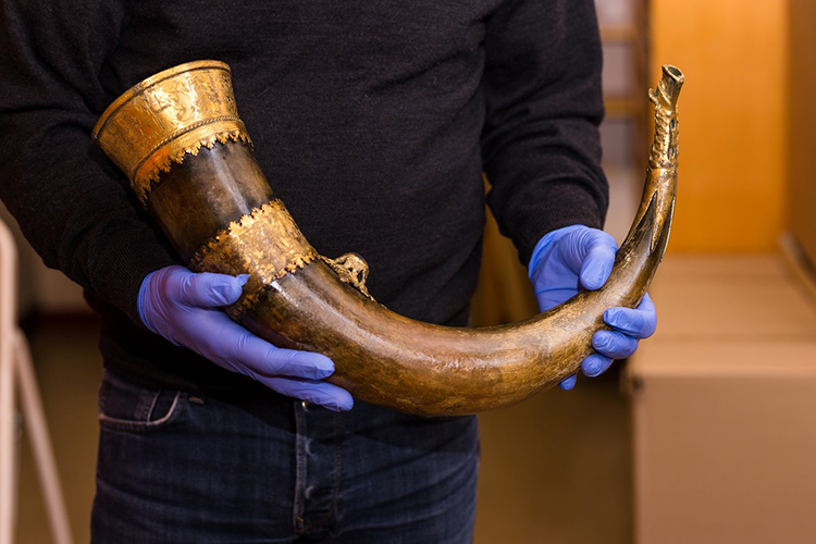 A Man Holding An Ancient Buffalo Horn Which May Be One Of The Viking Artifacts