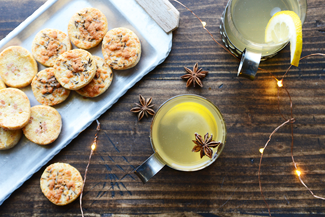 New Year menu: cheese biscuits and hot aquavit toddy