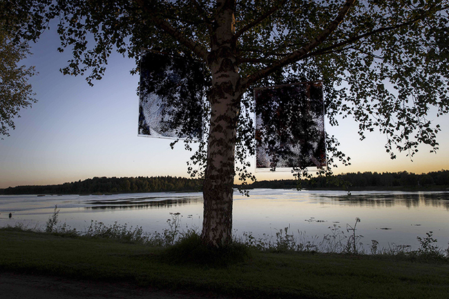 Sámi artist Tomas Colbengtson outdoor installation