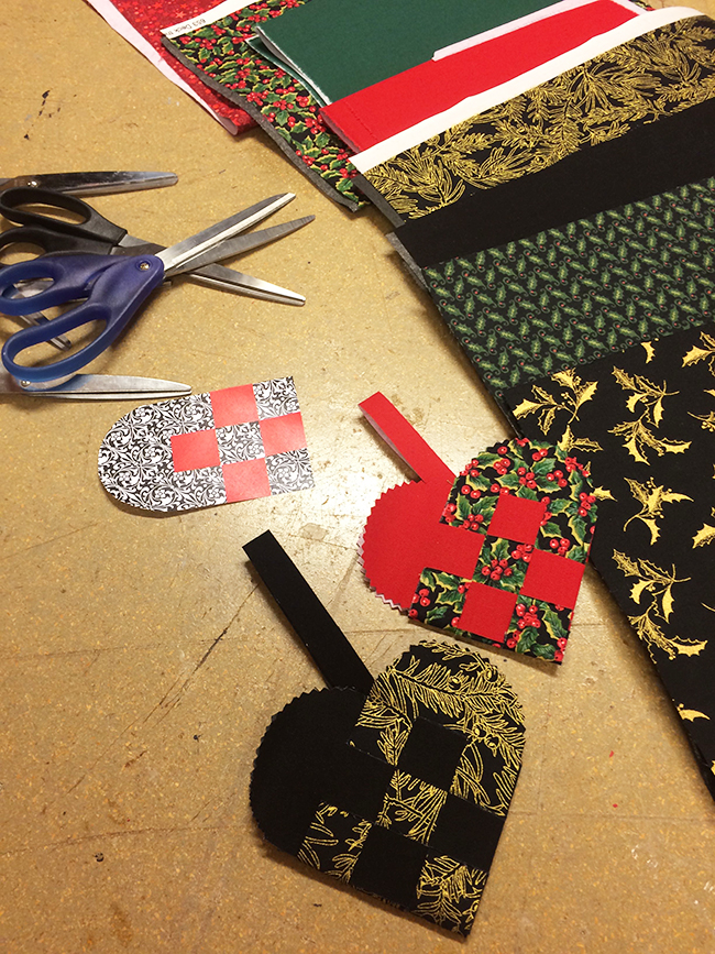 Norwegian Christmas ornaments: woven hearts